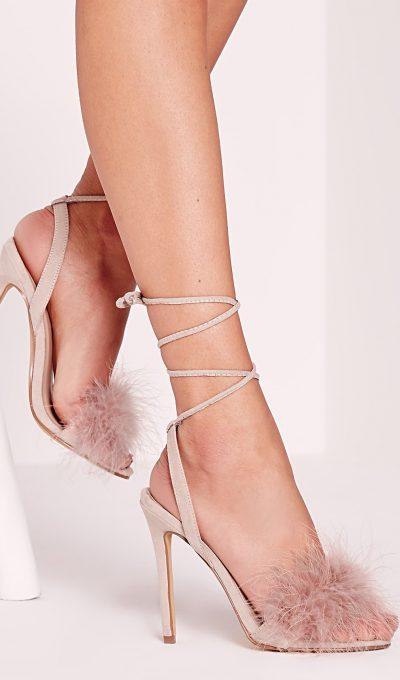 Misguided Lace Up Feather Heels