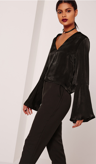 Misguided Satin Flared Sleeve Blouse Black