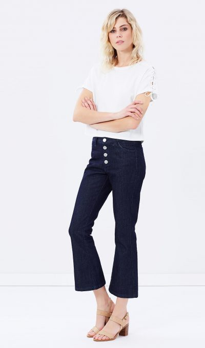 Vale Cropped Flare Denim Jeans The Iconic 220 Copy