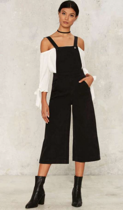Factory Zee Gee Why Kick Culotte Denim Overalls