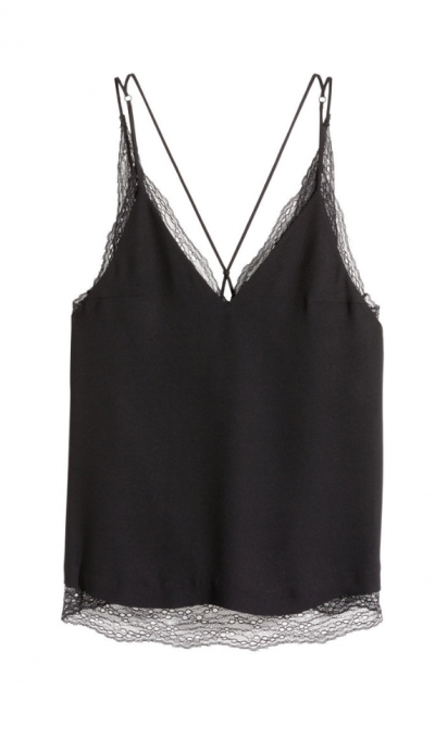 H M Double Layer Lace Camisole Top Black