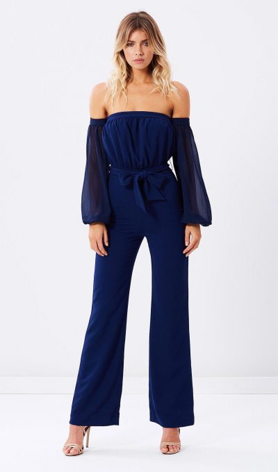 Miss Holly Navy Off The Shoulder Jumpsuit