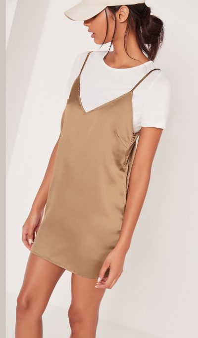 Missguided Petite Satin 2 In 1 Dress Gold