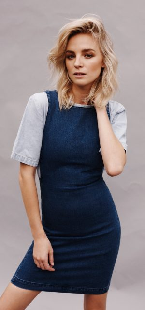 Cut Out Mini Washed Out Denim Tee