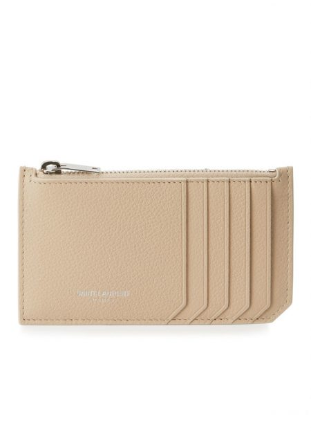 Saint Laurent Leather Zip Pouch Beige