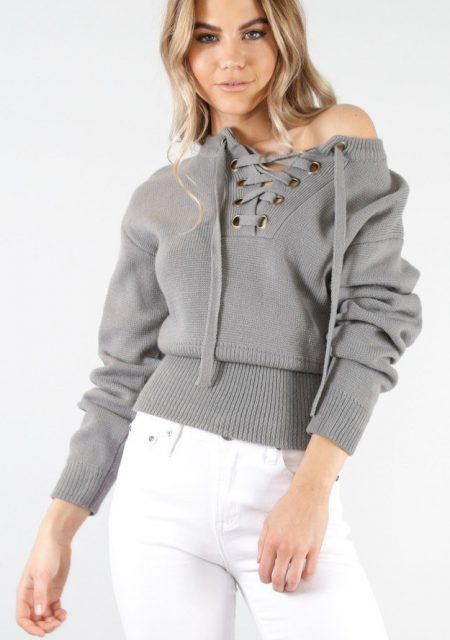 See Need Want Fashion Autumn Must Have Laceup Knit Jumper Showpo