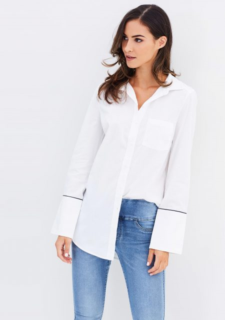 See Need Want Fashion Autumn Must Have Wide Cuff White Shirt Decjuba
