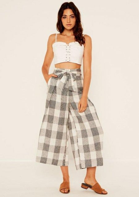 See Need Want Fashion Linen Wide Leg Pants Glassons