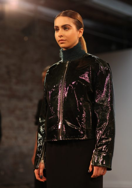 See Need Want Fashion Nyfw Christopher Esber Lianna Perdis Runway Look Patent Leather Jacket