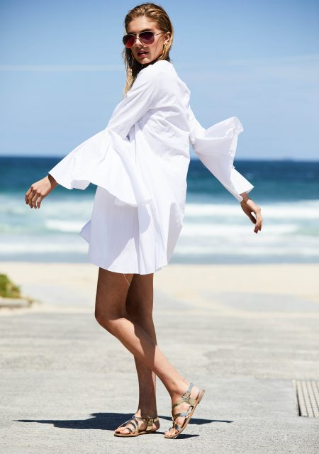 See Need Want Fashion Summer Street Style Trends White Bell Sleeve Dress 2