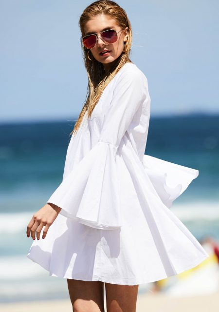 See Need Want Fashion Summer Street Style Trends White Bell Sleeve Dress 4 Copy