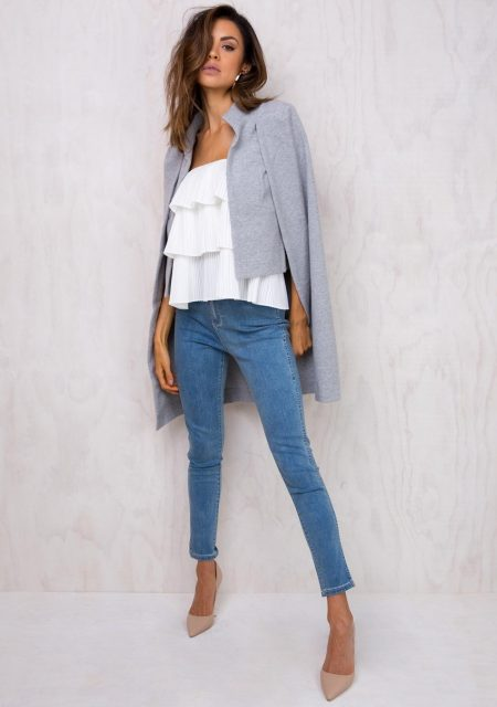 See Need Want Fashion Trend Cape Coat Princess Polly Grey 1