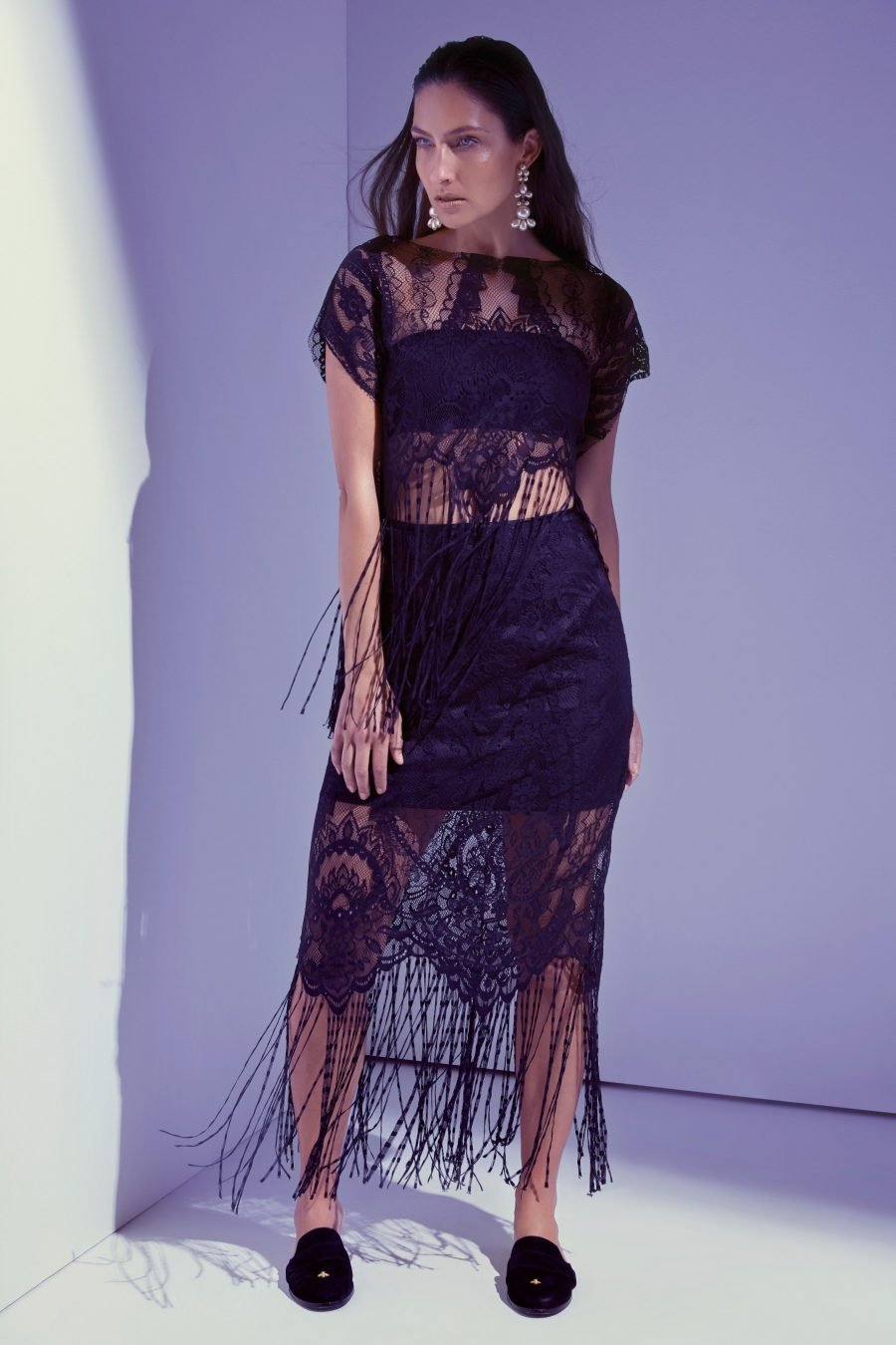 See Need Want Black Party Season Fashion Inspiration Lace Fringing
