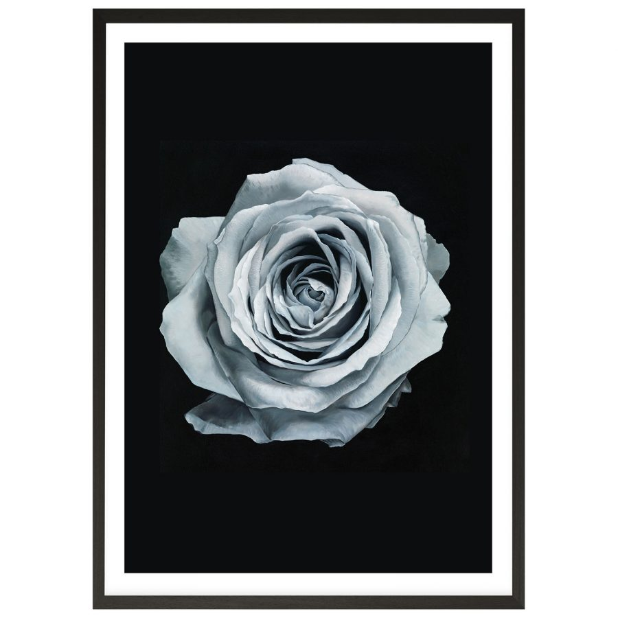 See Need Want Blue Silver Rose Printed Wall Art