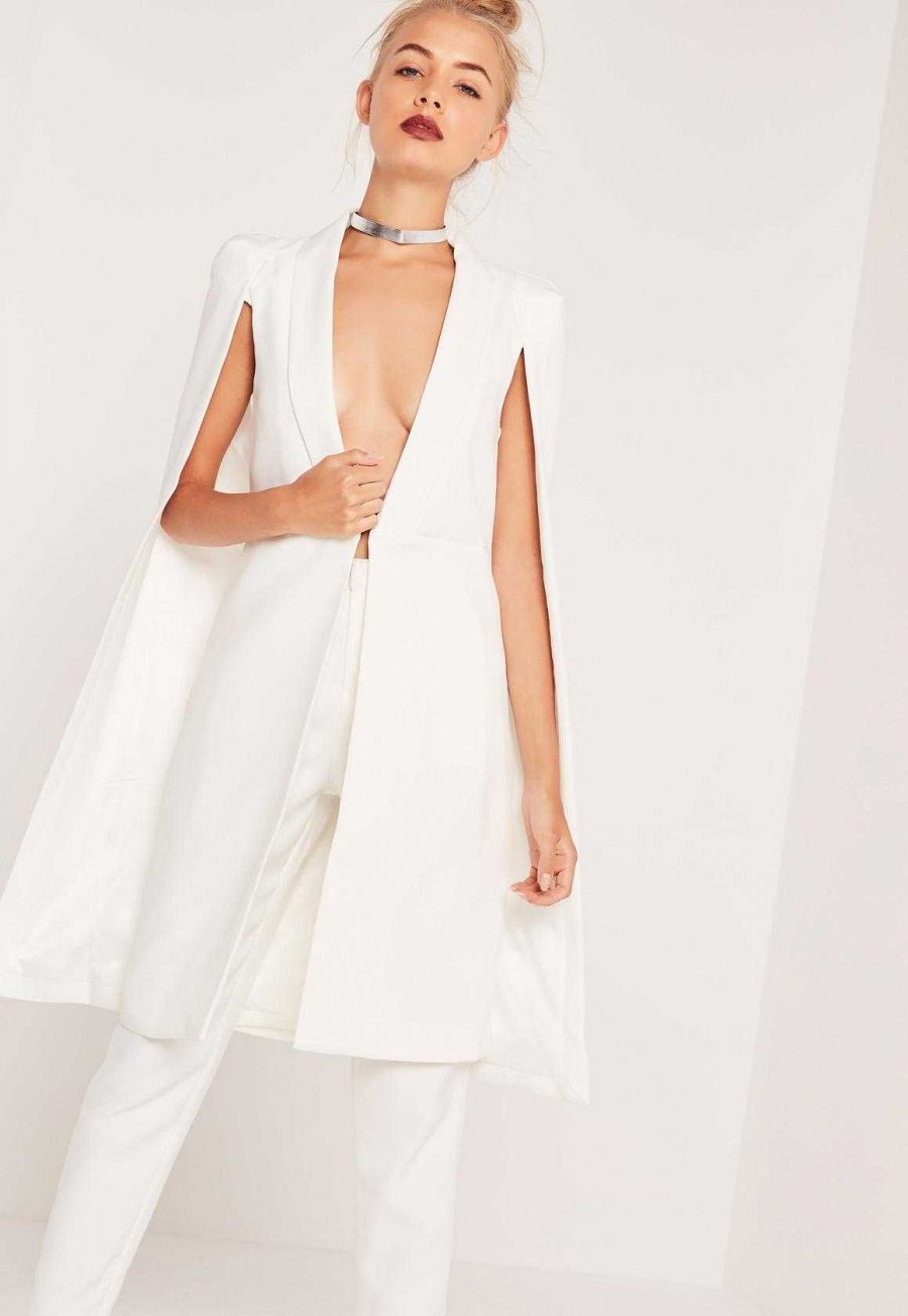See Need Want Fashion Trend Cape Coat Missguided White