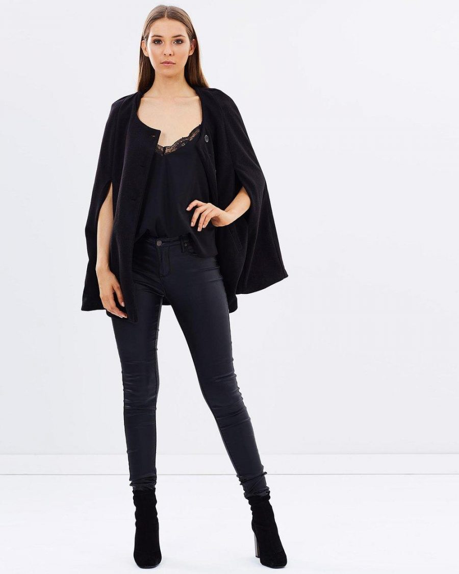 See Need Want Fashion Trend Cape Coat Mossee Black The Iconic 2