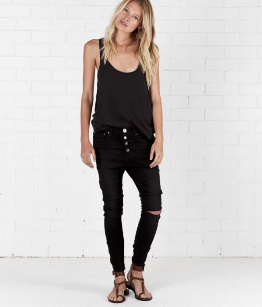 See Need Want Trend Alert Drop Crotch Pants One Teaspoon Black Denim