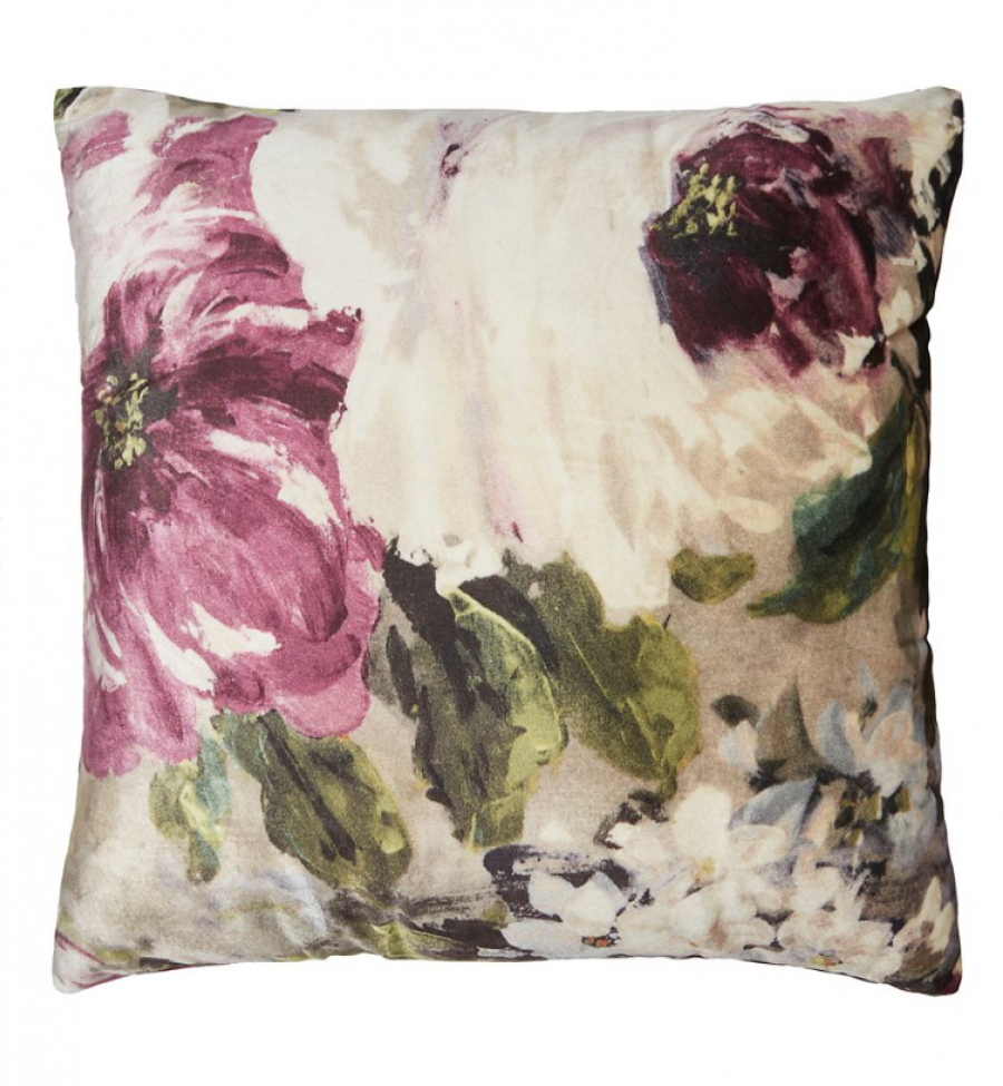 See Need Want Velvet Floral Cushion