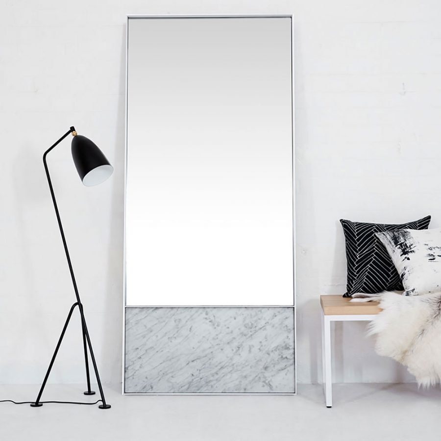 How To Instantly Make Your Home Look Bigger Large Leaning Mirror Modern Marble Loft Style Urban Couture